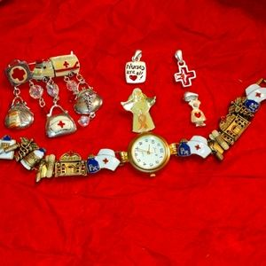 Vintage nurses watch~ pendant~ and brooch